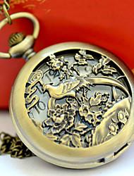 Недорогие -Муж. Карманные часы Кварцевый Бронза С гравировкой Повседневные часы Аналоговый Мультяшная тематика Скелет - Бронзовый