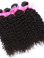 cheap -3 Bundles Brazilian Hair Kinky Curly 100% Remy Hair Weave Bundles 300 g Natural Color Hair Weaves / Hair Bulk Bundle Hair One Pack Solution 8-28 inch Natural Color Human Hair Weaves Soft Hot Sale
