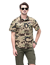 cheap -Men's Camo Hiking Tee shirt Short Sleeve Outdoor Breathable Quick Dry Sweat-wicking Comfortable Tee / T-shirt Top Autumn / Fall Spring Cotton Camouflage Hunting Military / Tactical Camping / Hiking