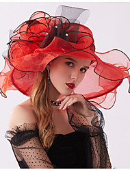 cheap -Lace / Organza Fascinators / Headdress / Headpiece with Bowknot / Floral / Cascading Ruffles 1 Wedding / Outdoor Headpiece