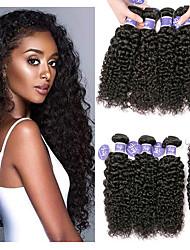 cheap -4 Bundles Indian Hair Kinky Curly Virgin Human Hair 100% Remy Hair Weave Bundles Headpiece Natural Color Hair Weaves / Hair Bulk Bundle Hair 8-28 inch Natural Human Hair Weaves Odor Free Fashionable