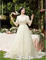 cheap -A-Line Wedding Dresses Scoop Neck Chapel Train Lace Tulle Half Sleeve Vintage See-Through with Beading Appliques 2021