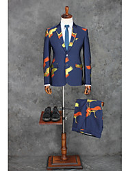 cheap -Blue Patterned Standard Fit Cotton / Polyester Suit - Notch Single Breasted Two-buttons / Suits