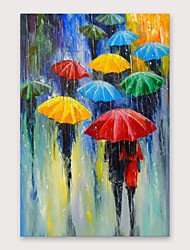 cheap -IARTS®Hand Painted In the Rain Oil Painting with Stretched Frame For Home Decoration