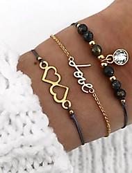 cheap -3pcs Women's Bead Bracelet Vintage Bracelet Earrings / Bracelet Layered Alphabet Shape Heart Simple Classic Vintage Fashion Cord Bracelet Jewelry Gold For Daily School Street Going out Festival