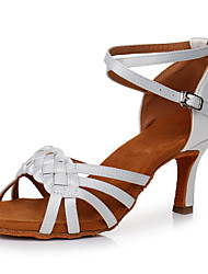 cheap -Women's Latin Shoes Ballroom Shoes Salsa Shoes Line Dance Heel Flared Heel Red Khaki White Ankle Strap Satin / Performance / Practice