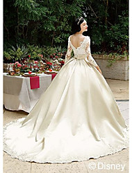 cheap -Ball Gown Bateau Neck Chapel Train Lace / Satin 3/4 Length Sleeve Sparkle & Shine Made-To-Measure Wedding Dresses with Lace 2020