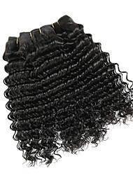Недорогие -4 Связки Монгольские волосы Крупные кудри Необработанные натуральные волосы 200 g Человека ткет Волосы Пучок волос Накладки из натуральных волос 8-28inch Естественный цвет Ткет человеческих волос