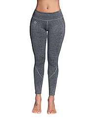 cheap -Women's Yoga Pants Cropped Leggings 4 Way Stretch Breathable Moisture Wicking Sillver Gray Black Non See-through Gym Workout Sports Activewear High Elasticity Skinny / Full Length