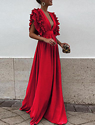 cheap -A-Line V Neck Floor Length Chiffon Empire / Red Formal Evening / Holiday Dress with Ruffles 2020