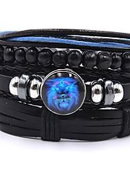 cheap -4pcs Men's Bead Bracelet Vintage Bracelet Earrings / Bracelet Layered Blessed Simple Classic Vintage Fashion Genuine Leather Bracelet Jewelry Black For Daily School Street Holiday Festival