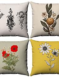cheap -4 pcs Cotton / Linen Pillow Cover, Floral Leaf Rustic Pastoral Throw Pillow