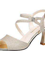 cheap -Women's Sandals Flared Heel Sparkling Glitter Synthetics Sweet / British Fall / Spring & Summer Black / Gold