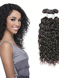 cheap -3 Bundles Brazilian Hair Water Wave Unprocessed Human Hair Natural Color Hair Weaves / Hair Bulk Human Hair Extensions Weave 8-28 inch Natural Color Human Hair Weaves Cosplay Soft Best Quality Human