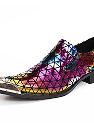 cheap -Men's Novelty Shoes Nappa Leather Spring / Fall Casual / British Loafers & Slip-Ons Non-slipping Rainbow / Wedding / Party & Evening / Wedding / Party & Evening / Dress Shoes