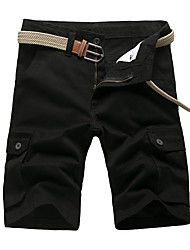 cheap -Men's Basic Shorts Pants - Solid Colored Black Army Green Yellow 29 30 31
