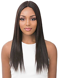 cheap -Costume Accessories Synthetic Wig kinky Straight Natural Straight Middle Part Wig Medium Length Brown Synthetic Hair 22 inch Women's Simple Synthetic Natural Hairline Brown / African American Wig