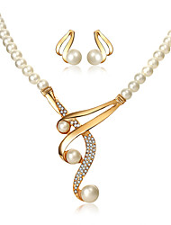 cheap -Women's Drop Earrings Pendant Necklace Beads Classic Vintage European Elegant Imitation Pearl Rhinestone Earrings Jewelry Gold For Party Engagement Ceremony Festival 3pcs
