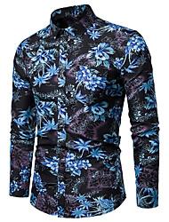 cheap -Men's Plus Size Floral Print Shirt - Cotton Classic Collar Blue / Yellow