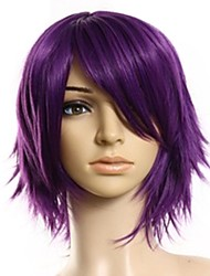 cheap -Cosplay Costume Wig Headpiece Precolored Hair Weaves kinky Straight Side Part Wig Medium Length Black / Purple Synthetic Hair 14 inch Women's Cosplay Creative Smooth Purple