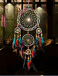 cheap -Boho Dream Catcher Handmade Gift Wall Hanging Decor Art Ornament Craft Feather 5 Circles Bead 50*13cm for Kids Bedroom Wedding Festival