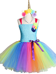 cheap -Handmade Toddler Kids Candy Unicorn Flower Christmas Dress Princess Costume Headband