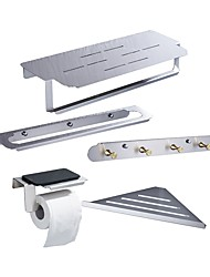 cheap -Towel Bar / Robe Hook / Bathroom Shelf Cool / Multifunction Contemporary / Antique Stainless Steel 5pcs - Bathroom Single / Double / 1-Towel Bar Wall Mounted