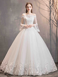 cheap -Ball Gown Off Shoulder Floor Length Lace / Tulle Long Sleeve Romantic Illusion Sleeve Wedding Dresses with Appliques 2020