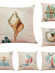 cheap -Set of 6 Marine Life Linen Cushion Cover Home Office Sofa Square Pillow Case Decorative Cushion Covers Pillowcases (18*18inch)