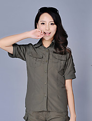 cheap -Women's Hiking Shirt / Button Down Shirts Long Sleeve Outdoor Breathable Quick Dry Sweat-wicking Multi Pocket Convert to Short Sleeves Shirt Top Autumn / Fall Spring Chinlon Army Green Camouflage