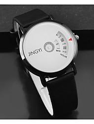 Недорогие -Муж. Нарядные часы Кварцевый Кожа Черный / Белый Повседневные часы Cool Цифровой Мода - Белый Черный Черный / Белый Один год Срок службы батареи / Нержавеющая сталь