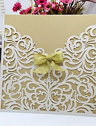 """cheap -Flat Card Wedding Invitations 10 - Invitation Cards Artistic Style Pearl Paper 6""""×6"""" (15*15cm) Ribbons"""