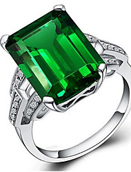 cheap -Women's Ladies Ring Emerald 1pc Green S925 Sterling Silver Geometric Stylish Party Daily Jewelry Classic Lucky Mood Cool