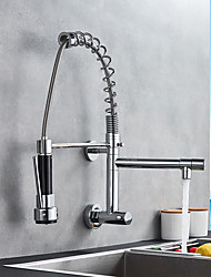 cheap -Single Handle Two Holes Kitchen Faucet Chrome Pull-out Wall Mounted Contemporary Kitchen Taps Brass Only Cold Water