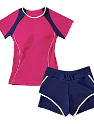 cheap -JIAAO Women's Two Piece Swimsuit Swimwear Breathable Quick Dry Short Sleeve 2-Piece - Swimming Surfing Solid Colored Summer / High Elasticity