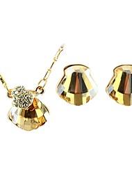 cheap -Women's Stud Earrings Pendant Necklace Geometrical Shell Stylish Luxury Sweet Austria Crystal Earrings Jewelry Purple / Champagne For Daily 1 set
