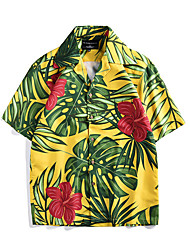 cheap -Aloha Hula Dancer Adults' Men's Women's Casual Beach Style T-shirt Hawaiian Costumes Luau Costumes For Party Casual / Daily Festival Polyster Blouse