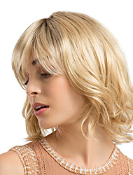 cheap -Synthetic Wig Curly kinky Straight Bob Neat Bang With Bangs Wig Blonde Medium Length Strawberry Blonde / Light Blonde Synthetic Hair 12 inch Women's Synthetic Natural Hairline Middle Part Blonde