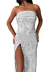 cheap -Mermaid / Trumpet Elegant & Luxurious Sexy Prom Formal Evening Dress Strapless Sleeveless Ankle Length Crepe Sequined with Sequin Split Front 2020
