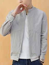 cheap -Men's Sports / Beach Spring & Summer Regular Jacket, Solid Colored Stand Long Sleeve Polyester Navy Blue / Light Blue / Light gray / Slim