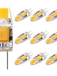 cheap -10pcs 1.5 W LED Bi-pin Lights 150 lm G4 1 LED Beads COB Lovely Warm White 12 V