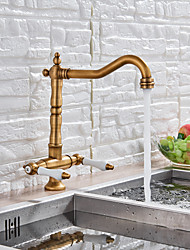 cheap -Kitchen faucet - Two Handles One Hole Antique Brass Tall / ­High Arc Deck Mounted Antique Kitchen Taps