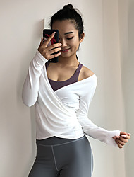 cheap -Women's Cropped Blouse Solid Color Yoga Gym Workout Sweatshirt Long Sleeve Activewear Lightweight Quick Dry Sweat-wicking High Elasticity Slim
