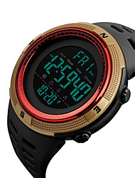cheap -SKMEI Men's Dress Watch Japanese Digital Stainless Steel Silicone Black 50 m Water Resistant / Waterproof Calendar / date / day Stopwatch Digital Casual Outdoor Colorful - Red Blue Golden