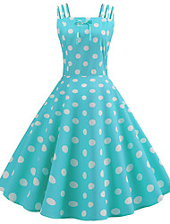 cheap -Audrey Hepburn Country Girl Retro Vintage 1950s Wasp-Waisted Rockabilly Dress JSK / Jumper Skirt Women's Costume Black / Sky Blue / Blue Vintage Cosplay Party Daily Homecoming Sleeveless Knee Length
