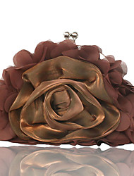 cheap -Women's Flower Silk Evening Bag Solid Color Black / Light Coffee / Purple
