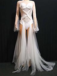 abordables -Vêtements de danse exotiques Combinaison à Strass / Combinaisons de Discothèque / Costume de club Femme Utilisation Spandex / Maille Détail Perle Manches Longues Robe