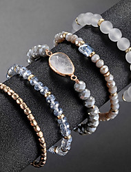 cheap -5pcs Women's Bead Bracelet Vintage Bracelet Bracelet Layered Blessed Simple Classic Fashion Cute Elegant Glass Bracelet Jewelry Gold For Daily School Street Holiday Festival / Earrings / Bracelet
