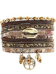 cheap -fashion women lifetree metal lip  rhinestone crystal beads leather bracelet
