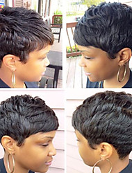 cheap -Human Hair Capless Wigs Human Hair Natural Wave / Natural Straight Pixie Cut / Layered Haircut / Asymmetrical / Short Hairstyles 2019 Adjustable / Heat Resistant / Hot Sale Black Short Capless Wig